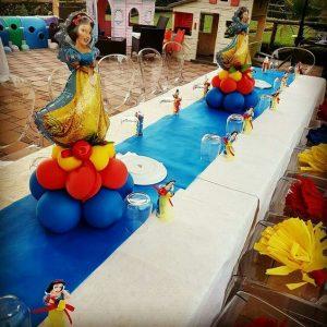 Centros de mesa de blanca nieves con globos