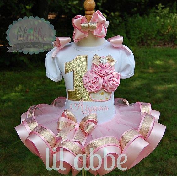 Tutus para fiestas del tema de cupcakes en color rosa
