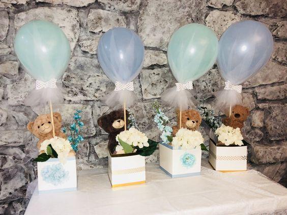 Centros de mesa con globos y tutus