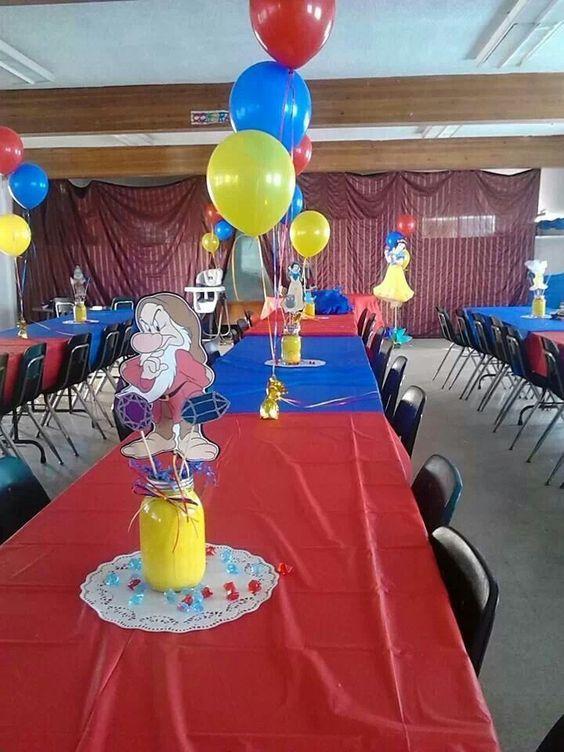 Centros de mesa para fiesta de blanca nieves