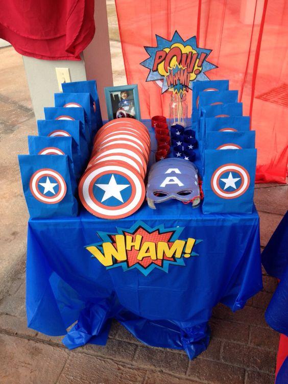 Matrimonio Tema Marvel : Fiesta de niño con tema capitan america