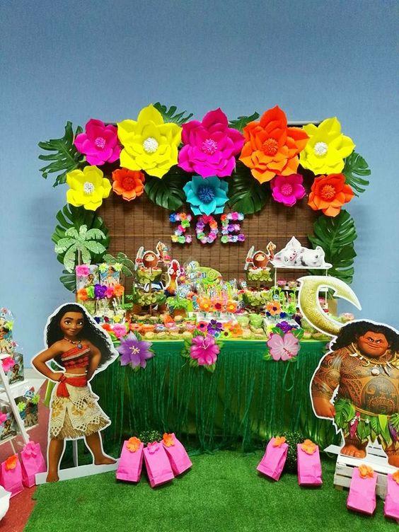 Fiesta infantil tematica de moana hawaiana cumplea os de - Las mesas fiestas 2017 ...