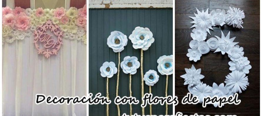 Decoraci n para eventos con flores de papel for Decoracion con cenefas de papel