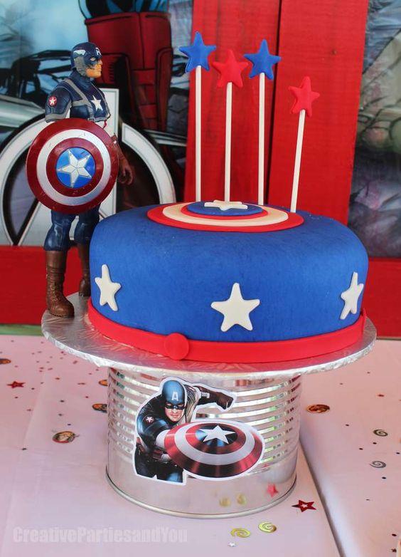 Dise 241 Os De Pasteles Para Fiesta De Capitan America 11 Decoracion De Fiestas Cumplea 241 Os Bodas