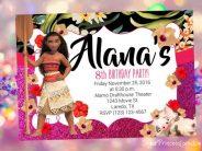 Invitaciones de Moana para fiestas infantiles