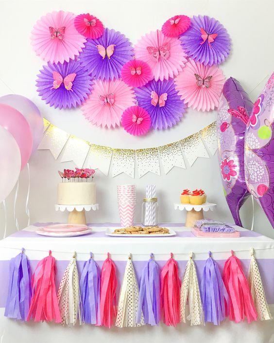 Decoraci n para un cumplea os de mariposas - Ideas para decorar un cumpleanos de nina ...
