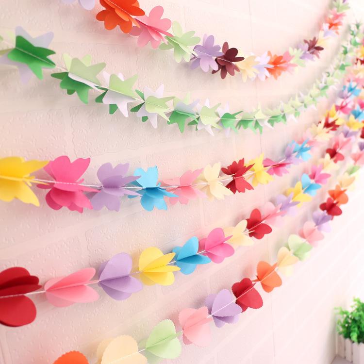 Decoraci n para un cumplea os de mariposas - Como hacer cadenetas de papel para fiestas ...