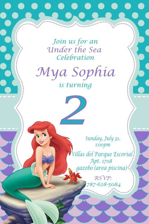 invitaciones de sirenita para cumpleaños