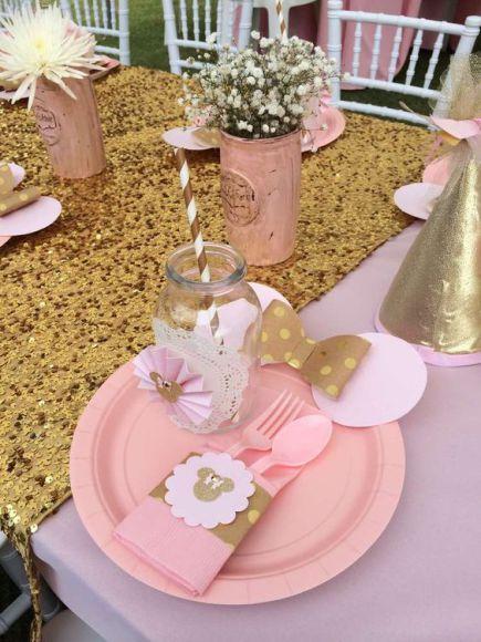 Fiesta tematica de minnie en rosa y dorado 19 - Decoracion de cumpleanos rosa y dorado ...