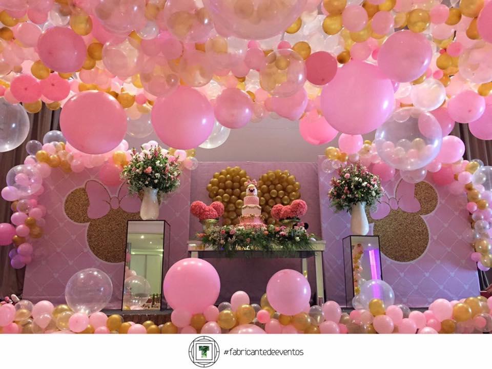 Fiesta tem tica de minnie en rosa y dorado decoracion de for Decoracion de cumpleanos rosa y dorado