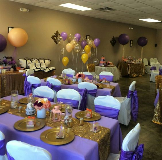 Decoracion De Baby Shower En Colores Purpura Y Dorado 21