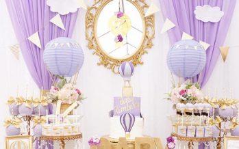 Decoración de Baby Shower en colores purpura y dorado