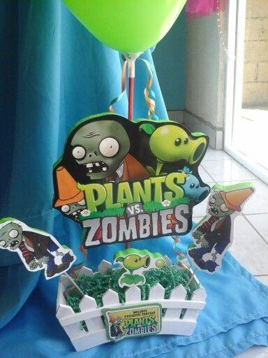 ideas de centros de mesa para un cumpleaños de plants vs zombies