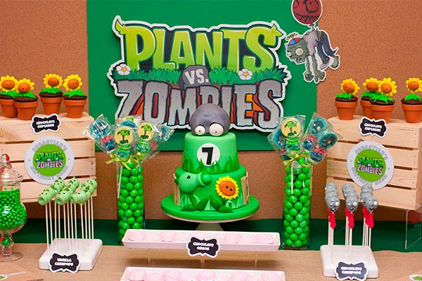 ideas de decorcion para una fiesta con el tema de plants vs zombies