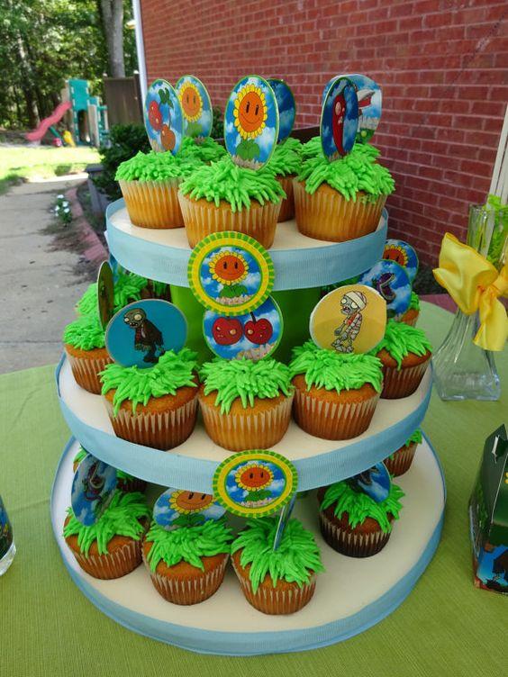 ideas para decorar con plants vs zombies tu portacupcakes