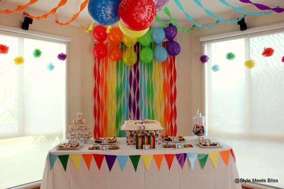 Ideas para un cumpleanos de arcoiris 11 decoracion de fiestas cumplea os bodas baby shower - Decoracion para cumpleanos infantiles en casa ...