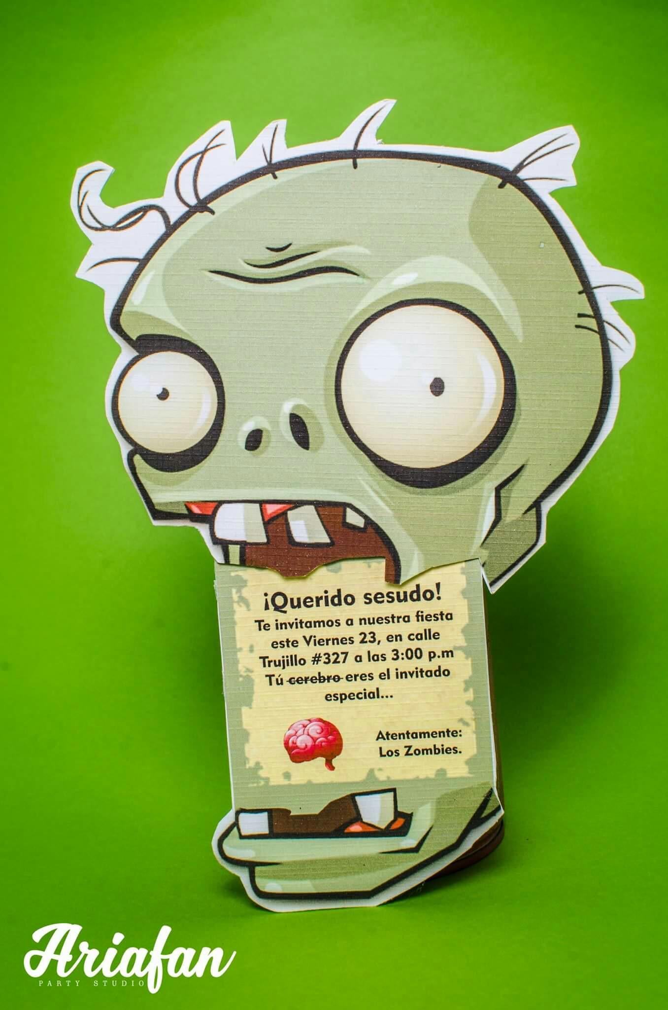 invitciones originales para un cumpleaños de plants vs zombies