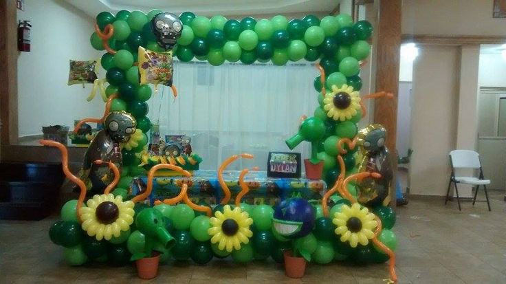 Decoraci n para cumplea os de plants vs zombies ideas for Decoracion con globos plantas contra zombies