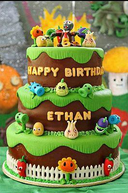 pastel de fondant para fiestas de plants vs zombies