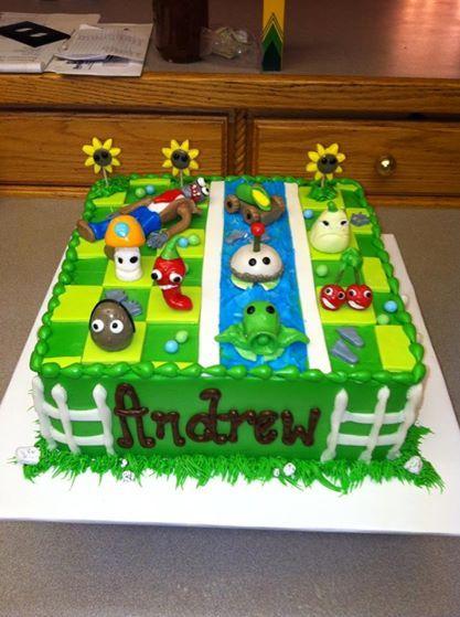 pastel para fiesta de plants vs zombies