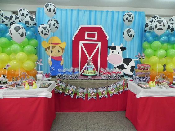 Decoracion de la granja de zenon para cumpleanos 7 Ornamentacion con globos