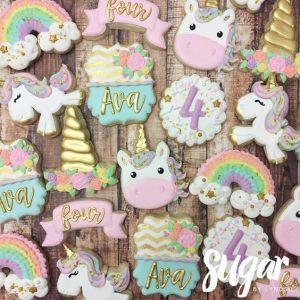 bocadilllos y galletas para mesa de postres fiesta unicornio (5)