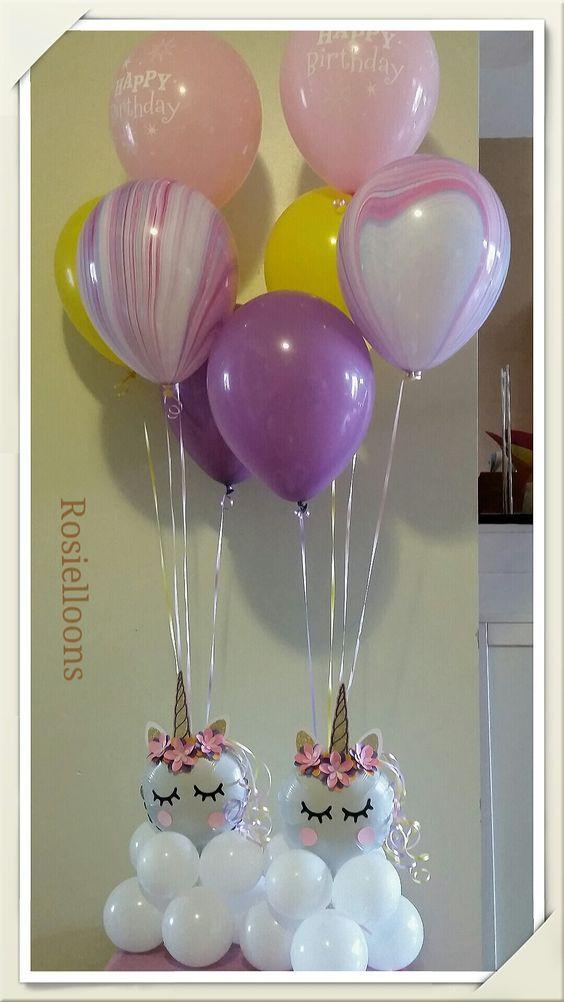 centro de mesa con globos para fiesta unicornio (3)