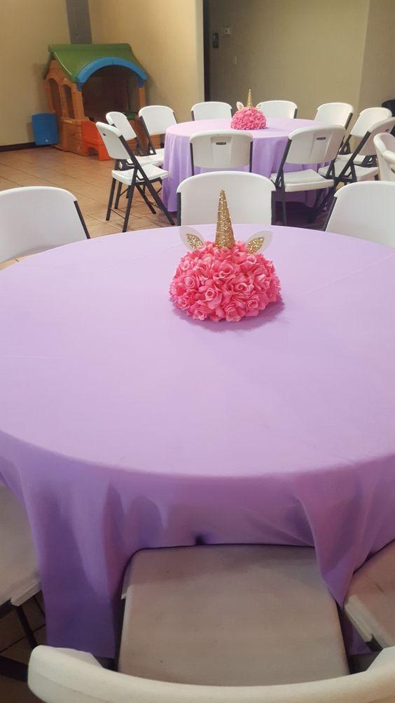 centros de mesa economicos para fiesta unicornio