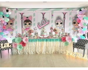 decoracion con globos fiesta nina tema munecas lol (3)