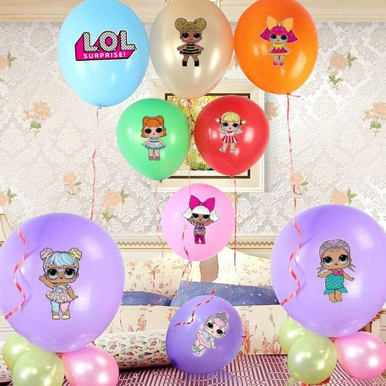 decoracion con globos fiesta nina tema munecas lol