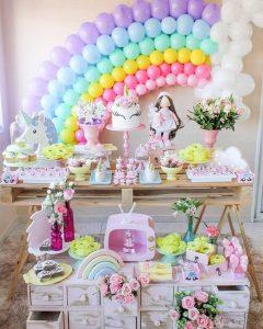 decoracion con globos mesa principal fiesta unicornio (2)
