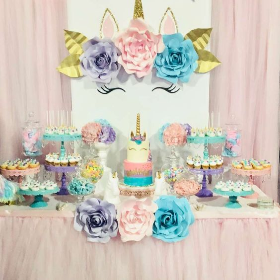 Decoracion de mesa principal fiesta de unicornio 11 for Decoracion para la pared de unicornio