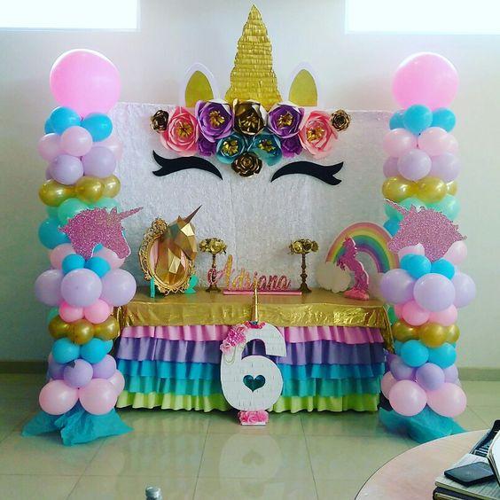 Decoración de mesa Fiestas de Unicornio