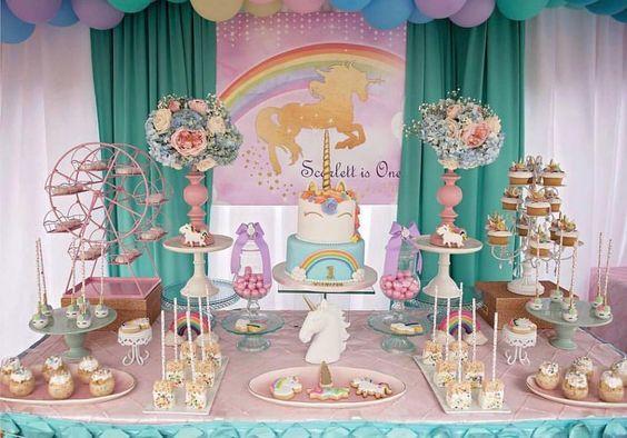 Decoracion de mesa principal fiesta de unicornio 9 for Decoracion para la pared de unicornio