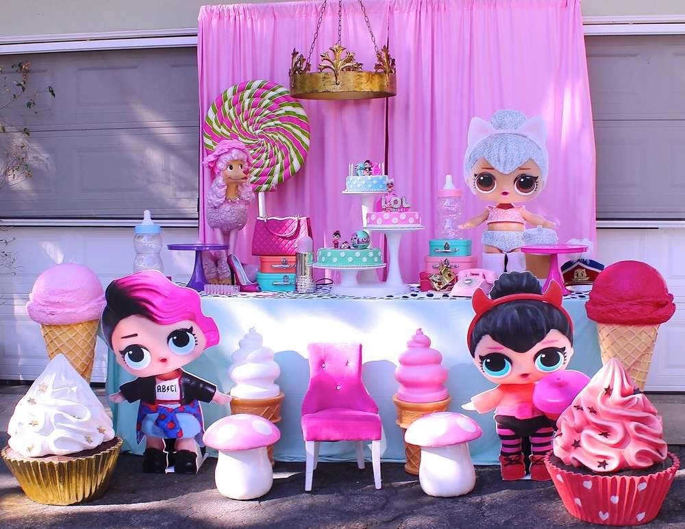 Decoracion general para una fiesta de nina munecas lol - Adornos para una fiesta de cumpleanos ...