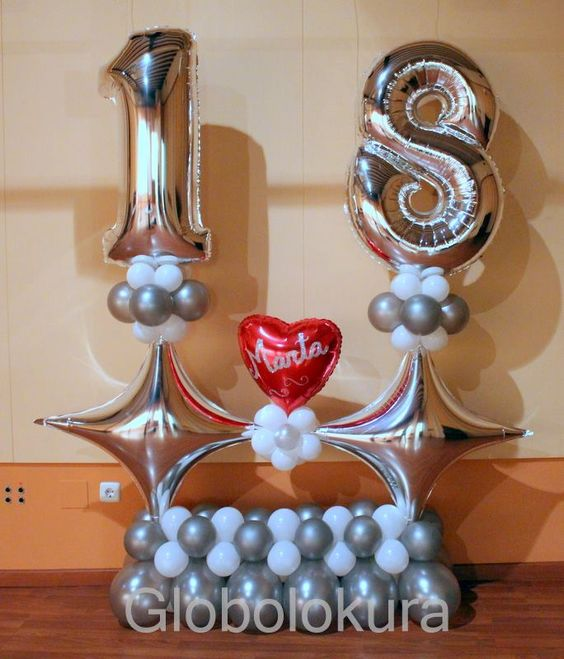 Ideas para decorar con globos un cumpleanos numero 18 - Decoracion con globos 50 anos ...