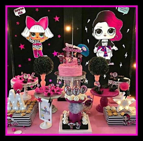 ideas for decorating main table party girl dolls theme lol
