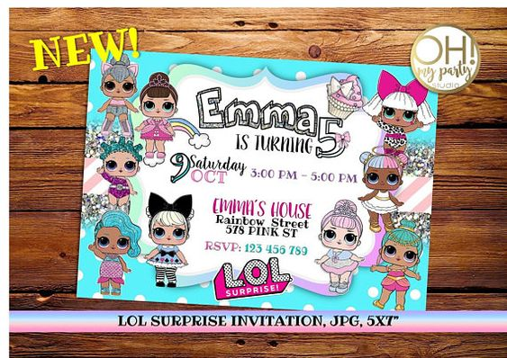 invitations party girl dolls theme lol (2)