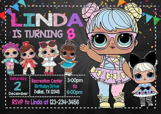 invitations party girl dolls theme lol