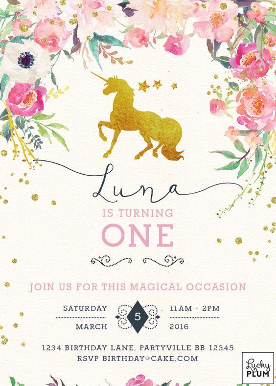 invitaciones sencillas para fiesta de unicornio