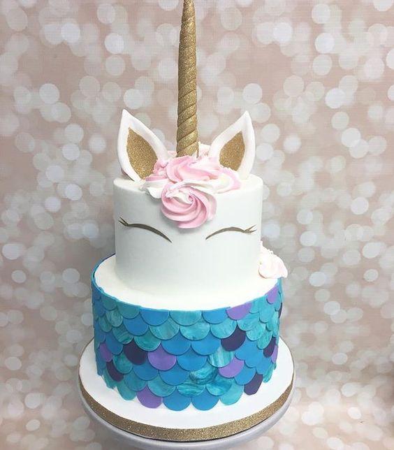 pastel de 2 pisos para fiesta infantil de unicornio (2)