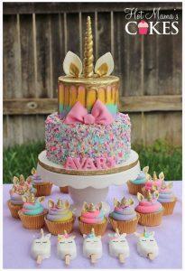 pastel de 2 pisos para fiesta infantil de unicornio (5)