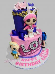 pastel de dos pisos para nina tarta de cumpleanos tema munecas lol (1)