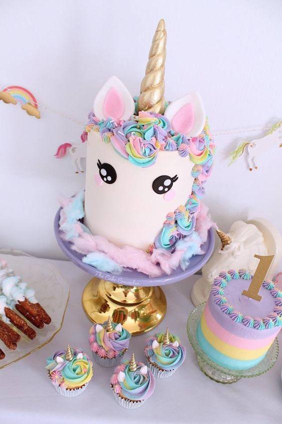 Cupcakes para fiesta de unicornio