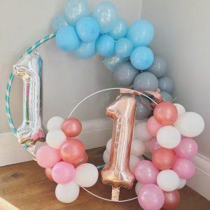 aros con globos de niño y niña