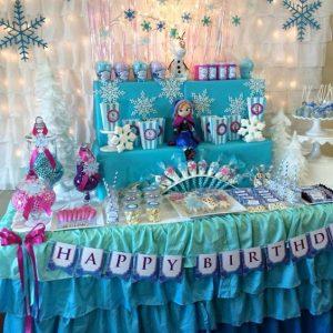 como decorar mesa de dulces de frozen 4