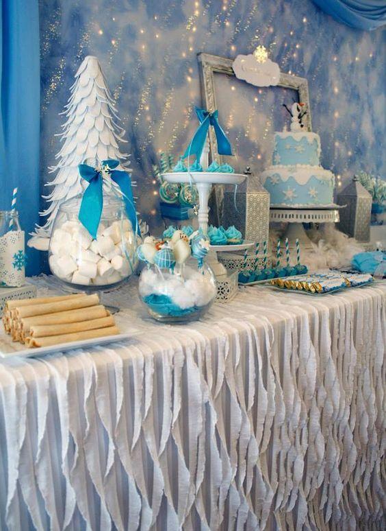 como decorar una mesa de dulces tema frozen 2