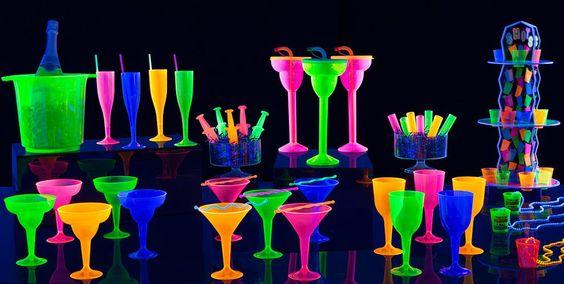 copas y cubiertos neon