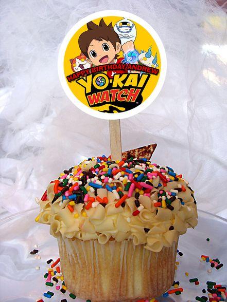 cupcake para fiesta de yo kai watch