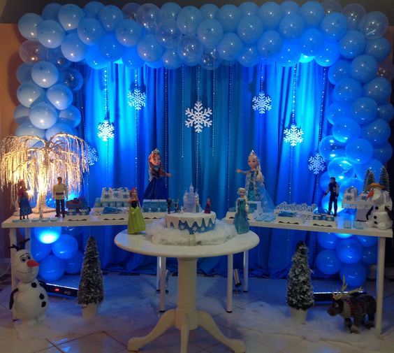decoracion con globos cumpleanos de nina frozen 2